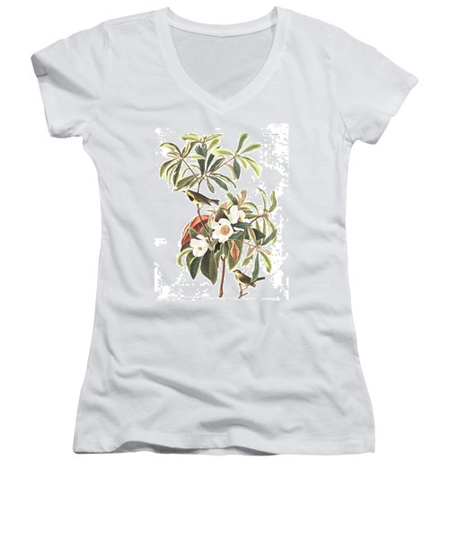 Bachman's Warbler  Women's V-Neck T-Shirt (Junior Cut) by John James Audubon