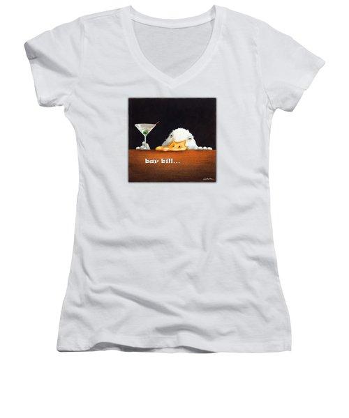 Bar Bill... Women's V-Neck T-Shirt (Junior Cut) by Will Bullas