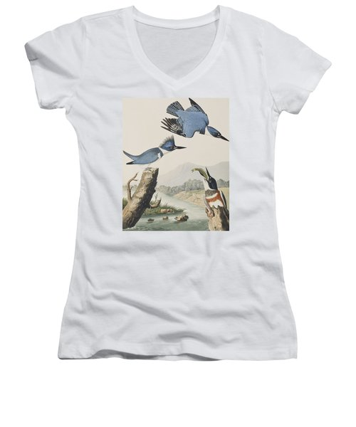 Belted Kingfisher Women's V-Neck T-Shirt (Junior Cut) by John James Audubon