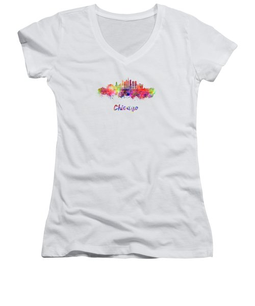 Chicago Skyline In Watercolor Women's V-Neck T-Shirt (Junior Cut) by Pablo Romero