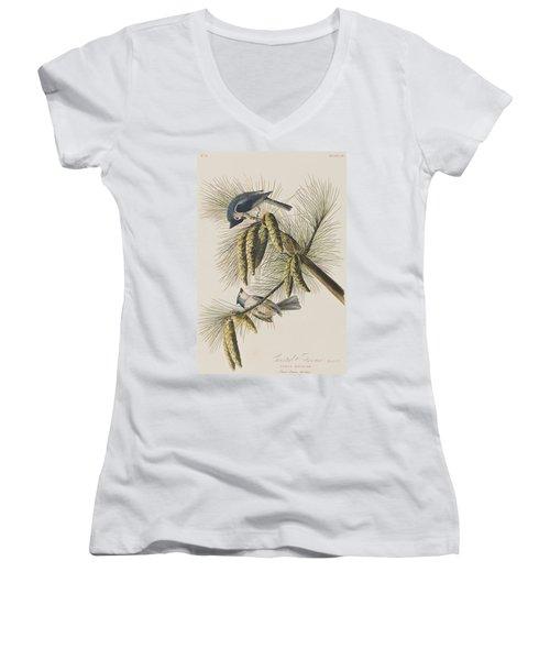 Crested Titmouse Women's V-Neck T-Shirt (Junior Cut) by John James Audubon