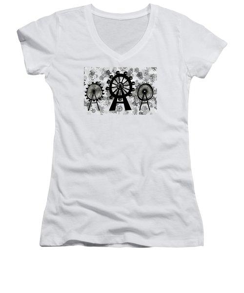 Ferris Wheel - London Eye Women's V-Neck T-Shirt (Junior Cut) by Michal Boubin