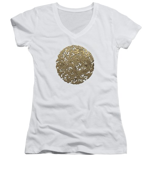 Golden Chinese Dragon White Leather  Women's V-Neck T-Shirt (Junior Cut) by Serge Averbukh