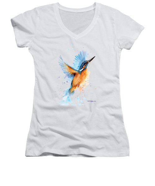 Kingfisher Women's V-Neck T-Shirt (Junior Cut) by Sarah Stribbling