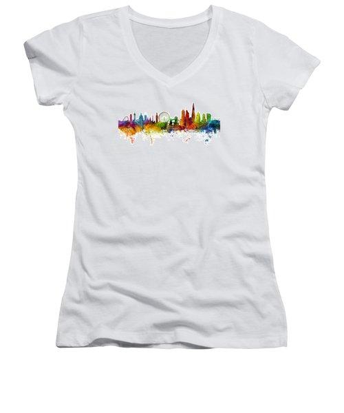 London England Skyline Panoramic Women's V-Neck T-Shirt (Junior Cut) by Michael Tompsett