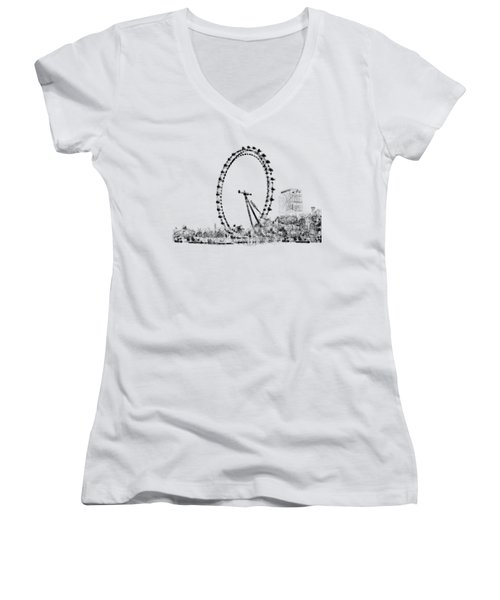 London Eye Women's V-Neck T-Shirt (Junior Cut) by ISAW Company