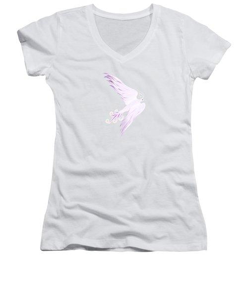 Magical Phoenix Bird Artistic Design Women's V-Neck T-Shirt (Junior Cut) by Awen Fine Art Prints