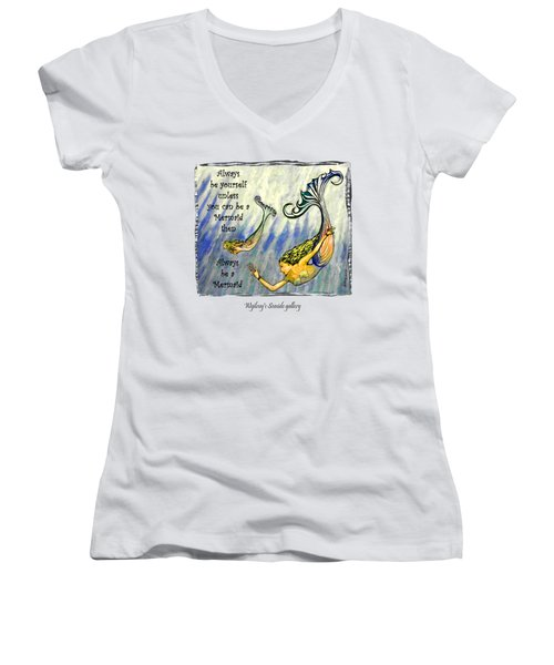 Mermaid Women's V-Neck T-Shirt (Junior Cut) by W Gilroy