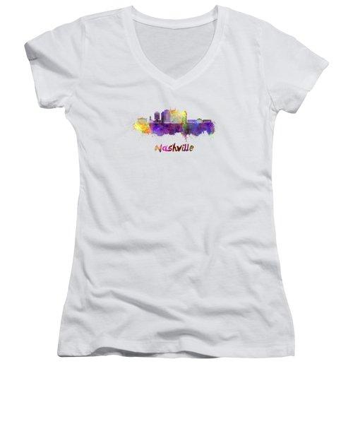 Nashville Skyline In Watercolor Women's V-Neck T-Shirt (Junior Cut) by Pablo Romero