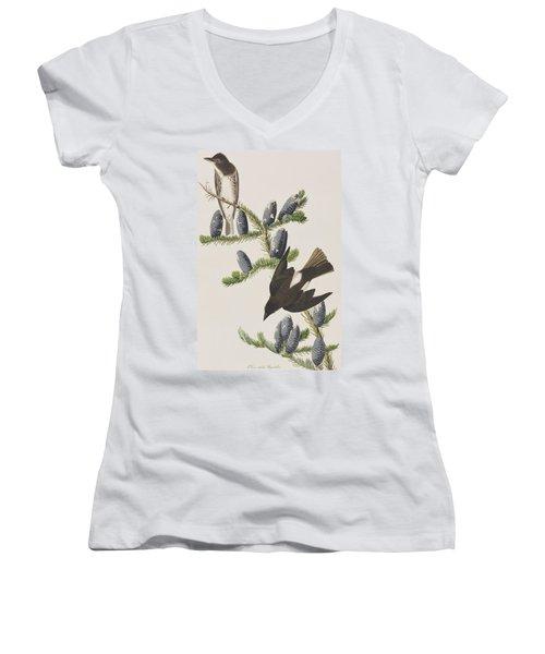Olive Sided Flycatcher Women's V-Neck T-Shirt (Junior Cut) by John James Audubon