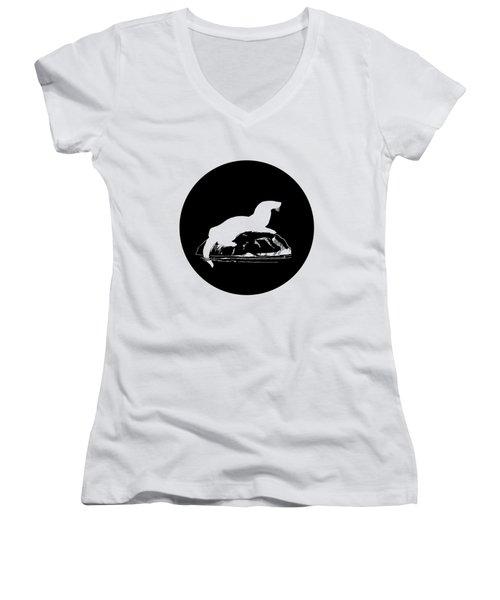 Otter Women's V-Neck T-Shirt (Junior Cut) by Mordax Furittus