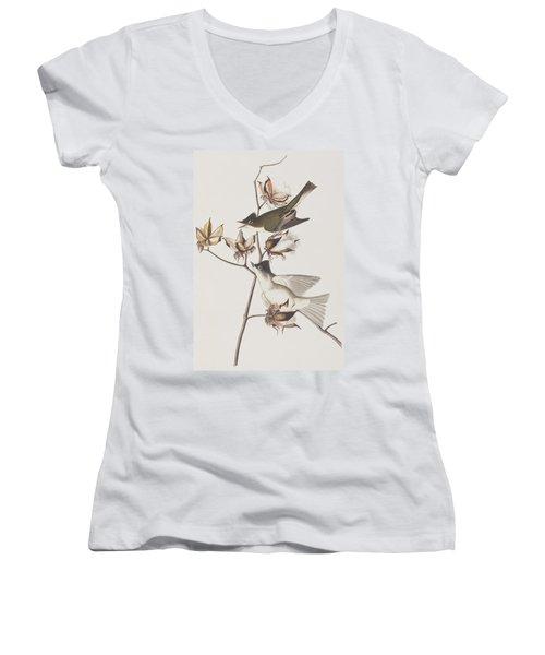 Pewit Flycatcher Women's V-Neck T-Shirt (Junior Cut) by John James Audubon