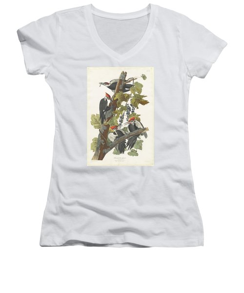 Pileated Woodpecker Women's V-Neck T-Shirt (Junior Cut) by John James Audubon