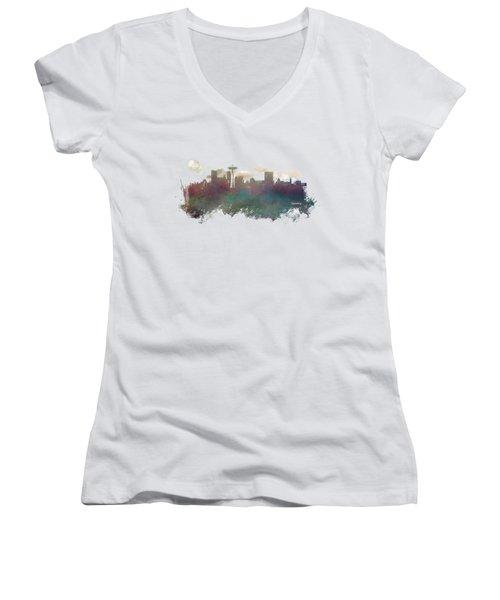 Seattle Washington Skyline Women's V-Neck T-Shirt (Junior Cut) by Justyna JBJart