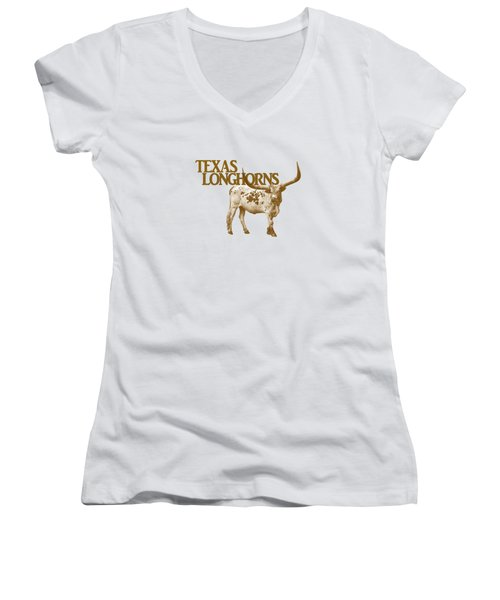Texas Longhorns Women's V-Neck T-Shirt (Junior Cut) by Priscilla Burgers