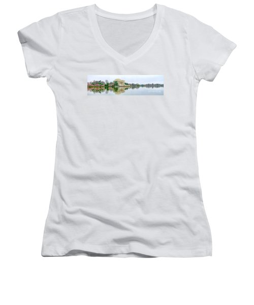 Tidal Basin With Cherry Blossoms Women's V-Neck T-Shirt (Junior Cut) by Jack Schultz