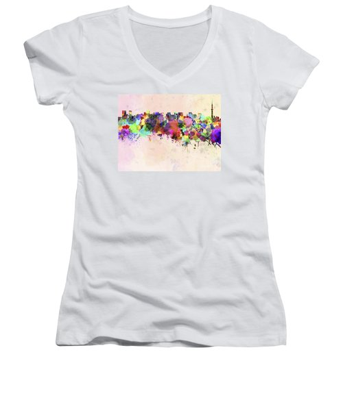 Tokyo Skyline In Watercolor Background Women's V-Neck T-Shirt (Junior Cut) by Pablo Romero