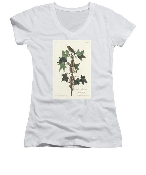 Traill's Flycatcher Women's V-Neck T-Shirt (Junior Cut) by John James Audubon