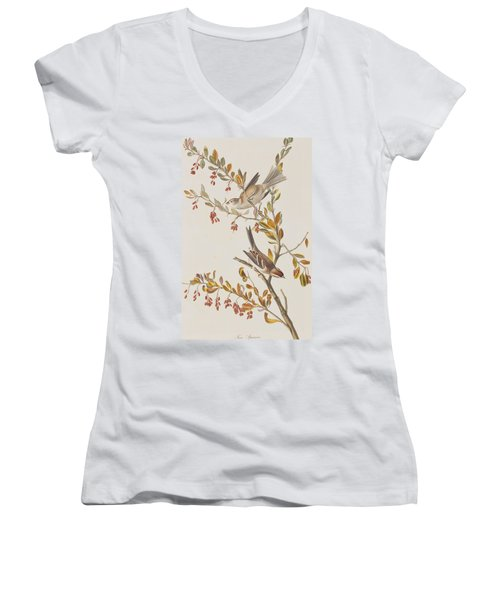 Tree Sparrow Women's V-Neck T-Shirt (Junior Cut) by John James Audubon