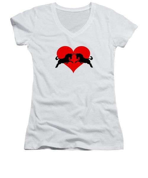 Unicorns Women's V-Neck T-Shirt (Junior Cut) by Mordax Furittus