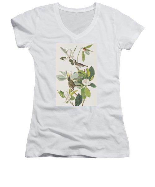 Warbling Flycatcher Women's V-Neck T-Shirt (Junior Cut) by John James Audubon