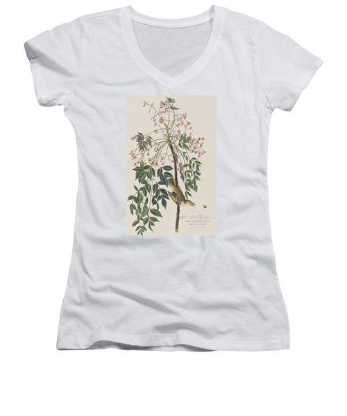 White-eyed Flycatcher Women's V-Neck T-Shirt (Junior Cut) by John James Audubon