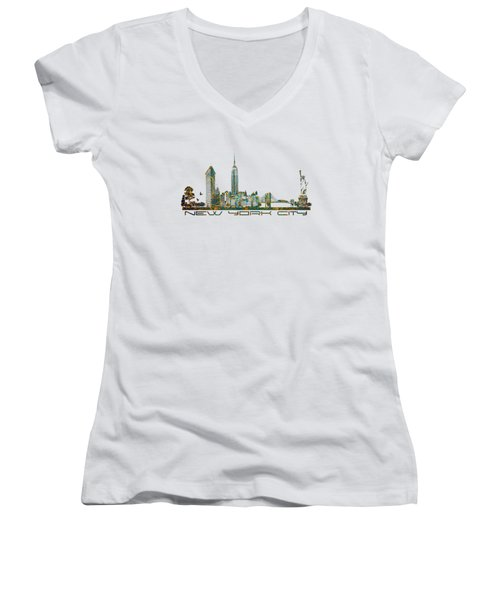 New York City Skyline Women's V-Neck T-Shirt (Junior Cut) by Justyna JBJart