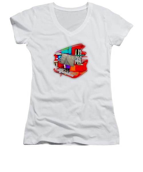 Piano Collection Women's V-Neck T-Shirt (Junior Cut) by Marvin Blaine