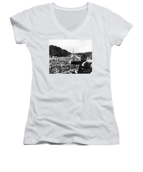 Martin Luther King, Jr Women's V-Neck T-Shirt (Junior Cut) by Granger