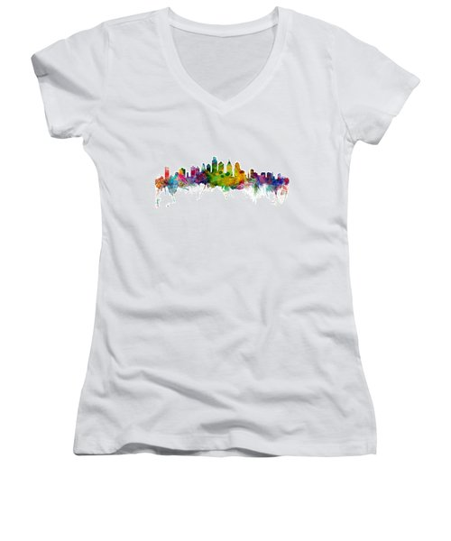 Philadelphia Pennsylvania Skyline Women's V-Neck T-Shirt (Junior Cut) by Michael Tompsett