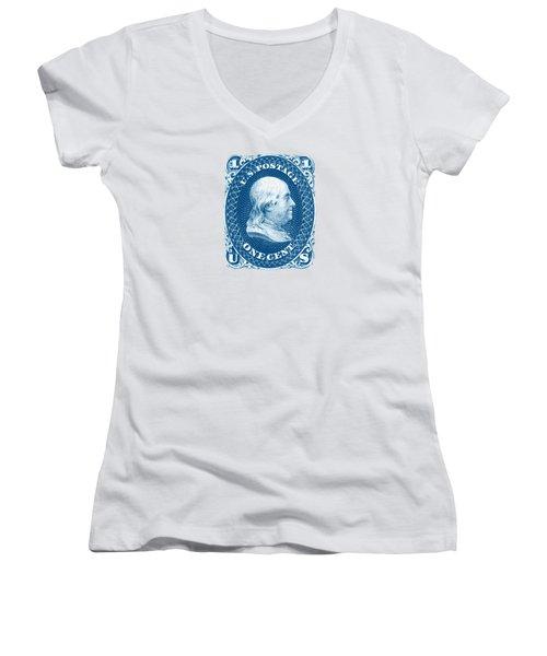 1861 Benjamin Franklin Stamp Women's V-Neck T-Shirt (Junior Cut) by Historic Image