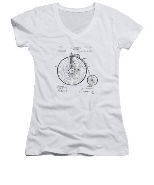 1881 Velocipede Bicycle Patent Artwork - Vintage Women's V-Neck T-Shirt (Junior Cut) by Nikki Marie Smith