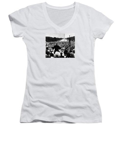 Martin Luther King Jr Women's V-Neck T-Shirt (Junior Cut) by American School