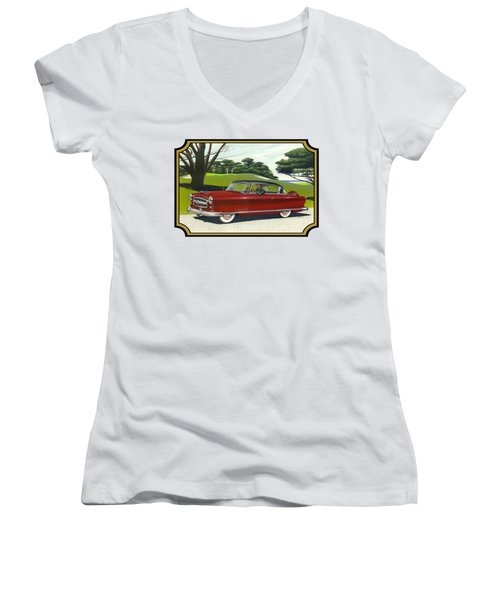 1953 Nash Rambler Car Americana Rustic Rural Country Auto Antique Painting Red Golf Women's V-Neck T-Shirt (Junior Cut) by Walt Curlee