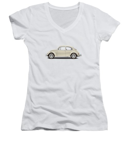 1965 Volkswagen 1200 Deluxe Sedan - Panama Beige Women's V-Neck T-Shirt (Junior Cut) by Ed Jackson