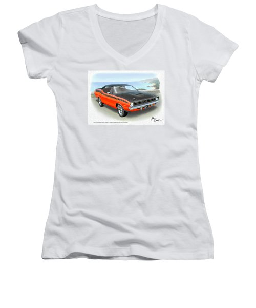 1970 Barracuda Aar  Cuda Classic Muscle Car Women's V-Neck T-Shirt (Junior Cut) by John Samsen