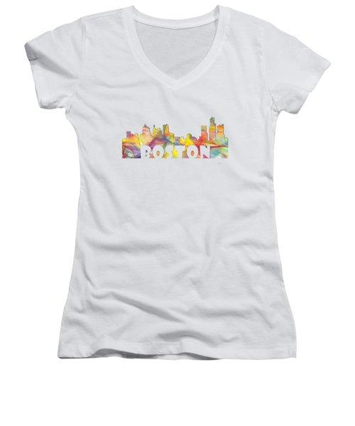Boston Massachusetts Skyline Women's V-Neck T-Shirt (Junior Cut) by Marlene Watson