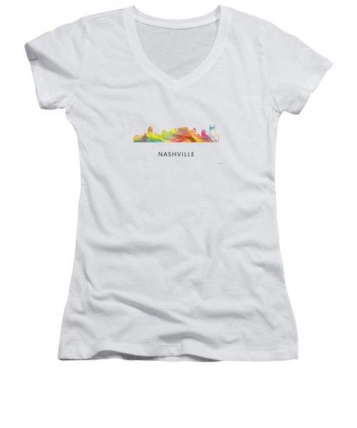 Nashville Tennessee Skyline Women's V-Neck T-Shirt (Junior Cut) by Marlene Watson