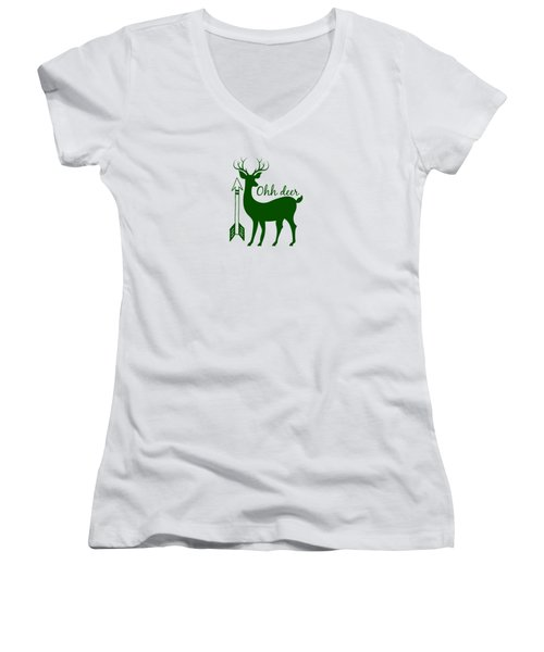 Ohh Deer Women's V-Neck T-Shirt (Junior Cut) by Chastity Hoff