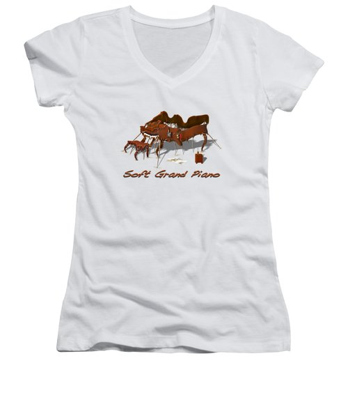 Soft Grand Piano  Women's V-Neck T-Shirt (Junior Cut) by Mike McGlothlen