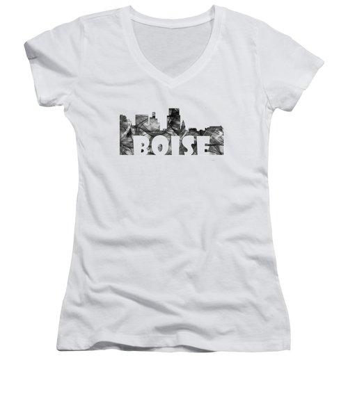Boise Idaho Skyline Women's V-Neck T-Shirt (Junior Cut) by Marlene Watson