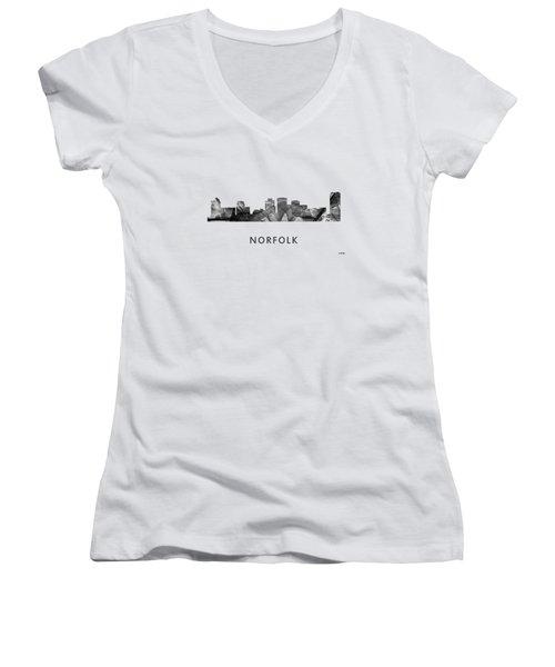 Norfolk Virginia Skyline Women's V-Neck T-Shirt (Junior Cut) by Marlene Watson