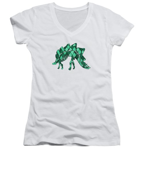 Stegosaurus Skeleton Women's V-Neck T-Shirt (Junior Cut) by Mordax Furittus
