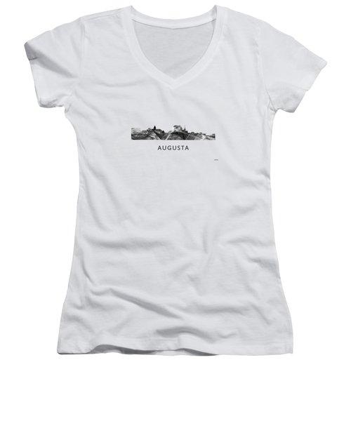 Augusta Maine Skyline Women's V-Neck T-Shirt (Junior Cut) by Marlene Watson