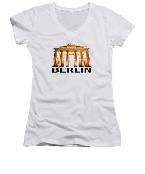 Brandenburg Gate Women's V-Neck T-Shirt (Junior Cut) by Julie Woodhouse