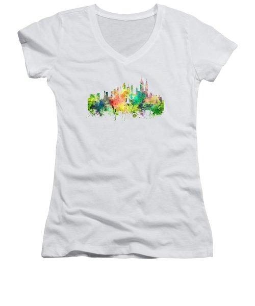 New York Skyline Women's V-Neck T-Shirt (Junior Cut) by Marlene Watson
