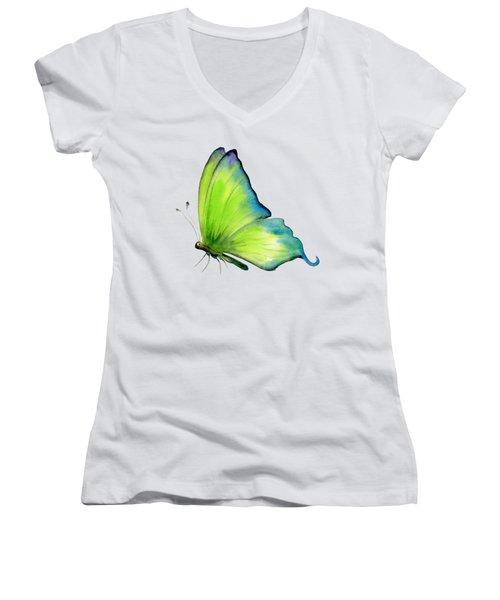 4 Skip Green Butterfly Women's V-Neck T-Shirt (Junior Cut) by Amy Kirkpatrick