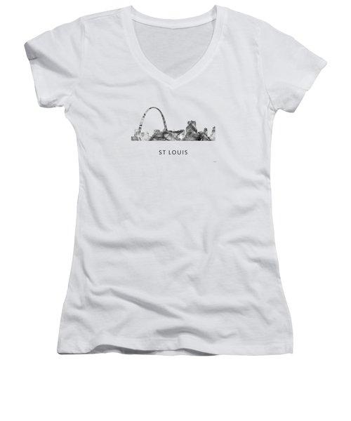 St Louis Missouri Skyline Women's V-Neck T-Shirt (Junior Cut) by Marlene Watson