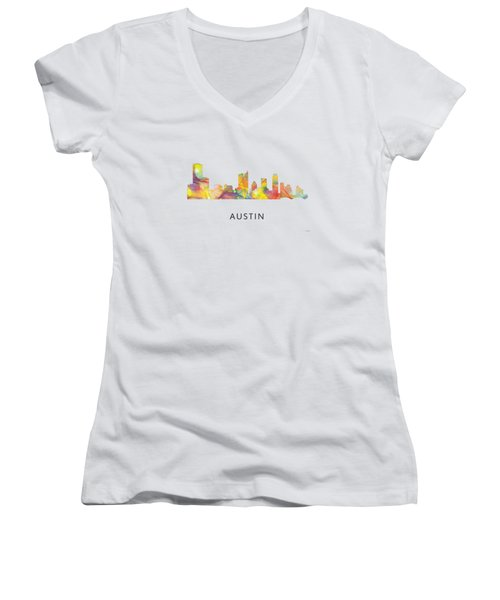Austin Texas Skyline Women's V-Neck T-Shirt (Junior Cut) by Marlene Watson