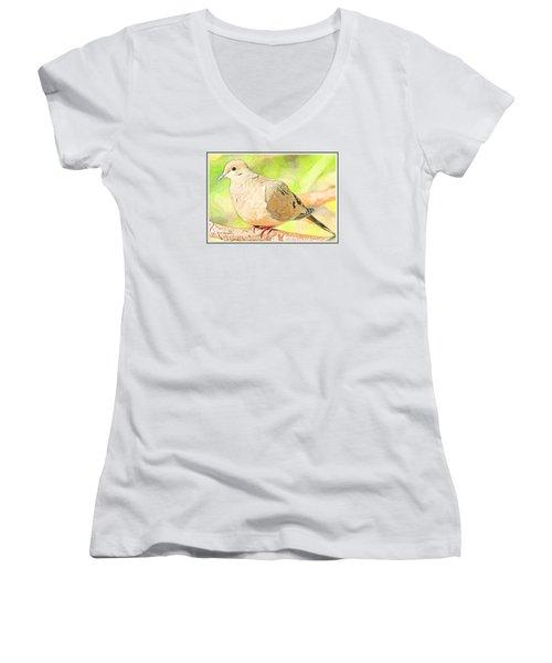 Women's V-Neck T-Shirt (Junior Cut) featuring the digital art Mourning Dove Animal Portrait by A Gurmankin